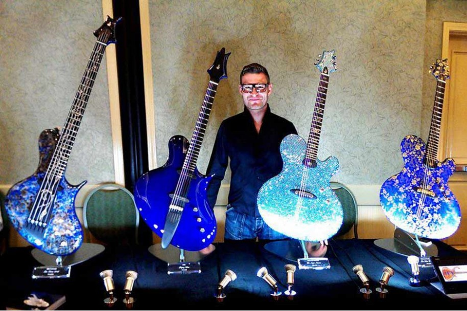 The art of Jens Ritter exposed on Floating Guitar Stands | Aclam Guitars
