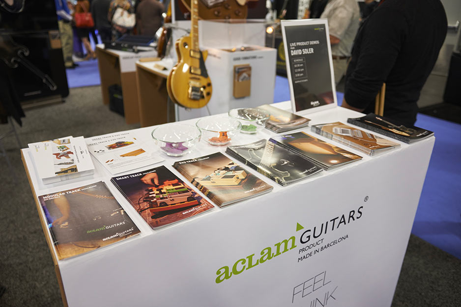 Aclam Guitars' stand at NAMM