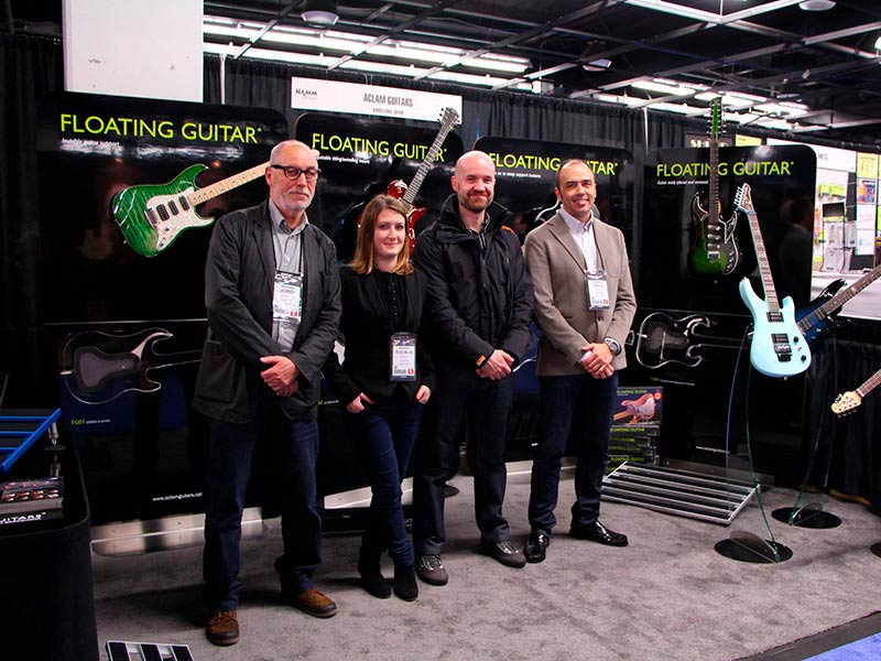 Aclam Guitars's Team and the stand