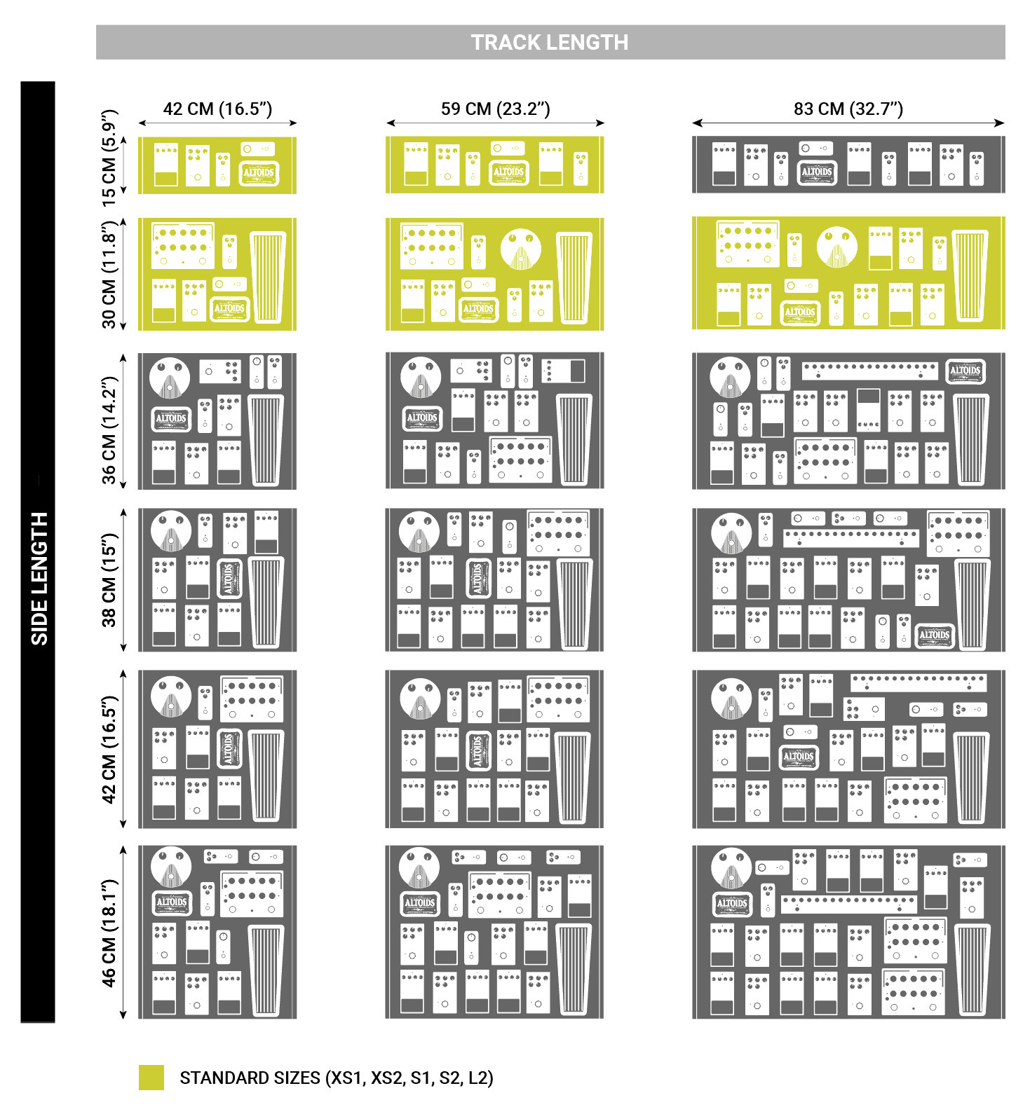 Aclam pedalboard dimensions and sizes